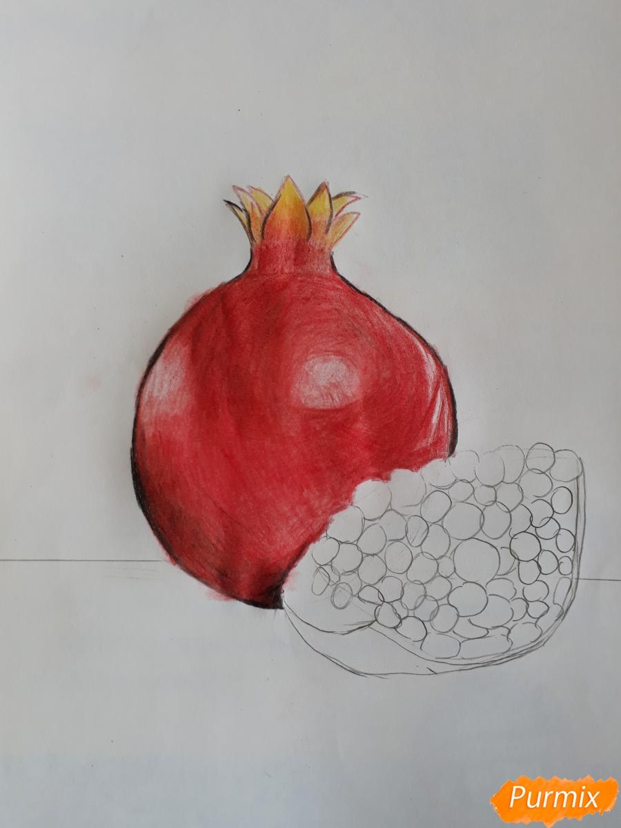Рисуем гранат карандашами - шаг 3