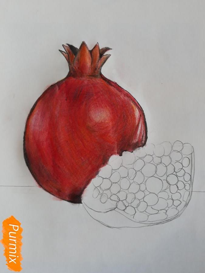 Рисуем гранат карандашами - шаг 4