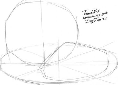 Рисуем качан и нарезанную капусту - шаг 1