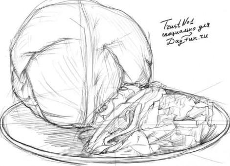 Рисуем качан и нарезанную капусту - шаг 3