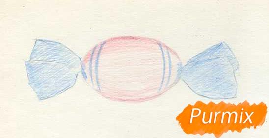 Рисуем карамельку цветными карандашами - шаг 2