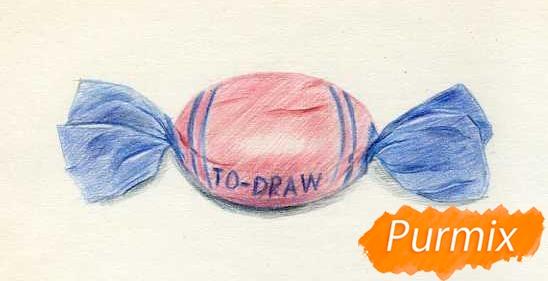 Рисуем карамельку цветными карандашами - шаг 4