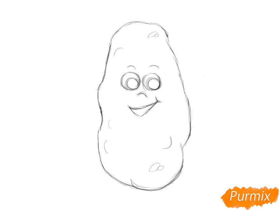 Рисуем картошку с глазками для детей - шаг 4