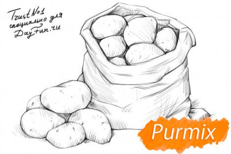 Рисуем картошку в мешке - шаг 4