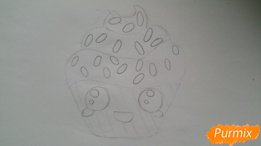 Рисуем милый кексик - шаг 6