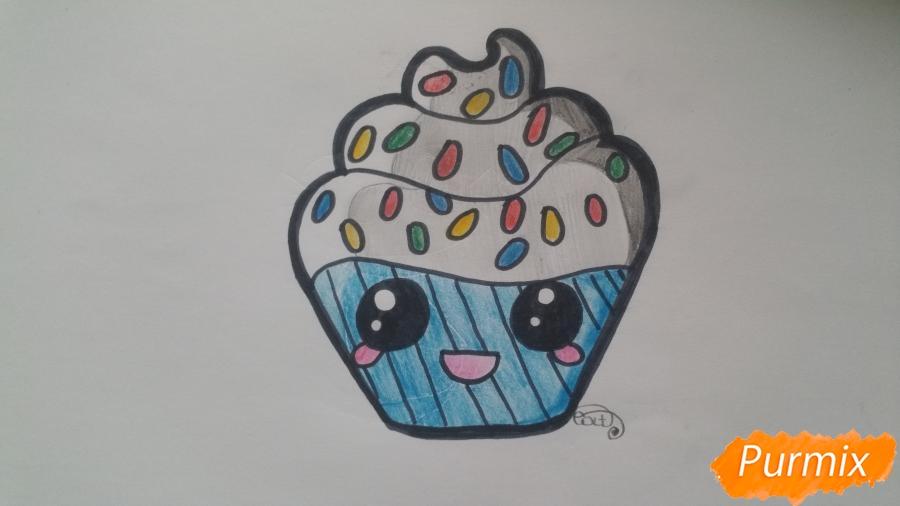 Рисуем милый кексик - шаг 9
