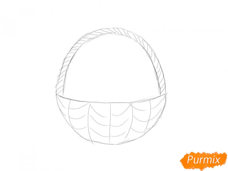 Рисуем корзину с ягодами карандашами - шаг 3