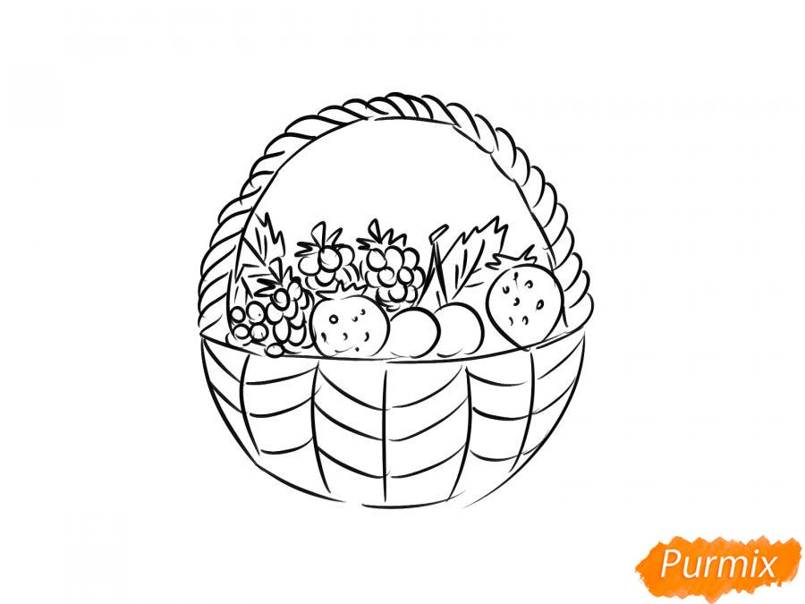 Рисуем корзину с ягодами карандашами - шаг 5