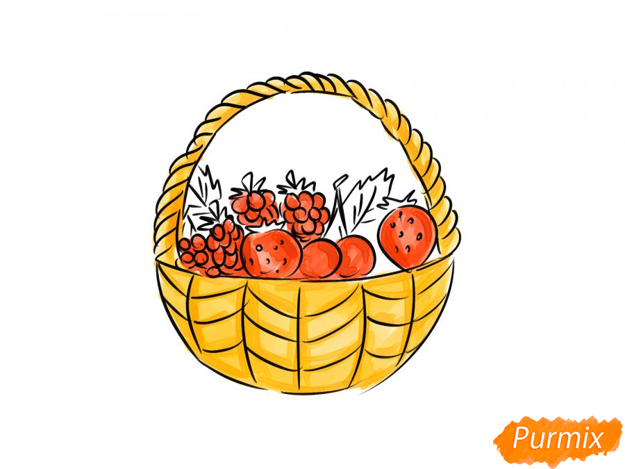 Рисуем корзину с ягодами карандашами - шаг 7