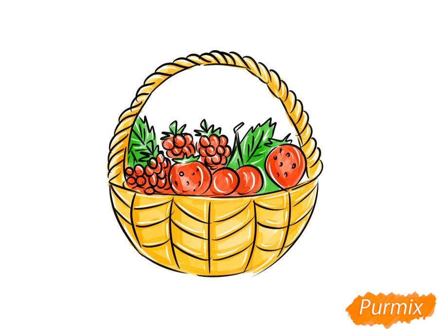 Рисуем корзину с ягодами карандашами - шаг 9