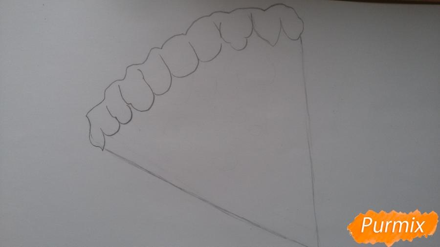 Рисуем кусок пиццы с глазками - шаг 2