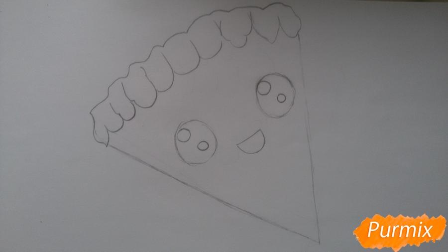 Рисуем кусок пиццы с глазками - шаг 3