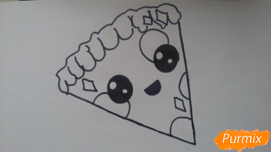 Рисуем кусок пиццы с глазками - шаг 6