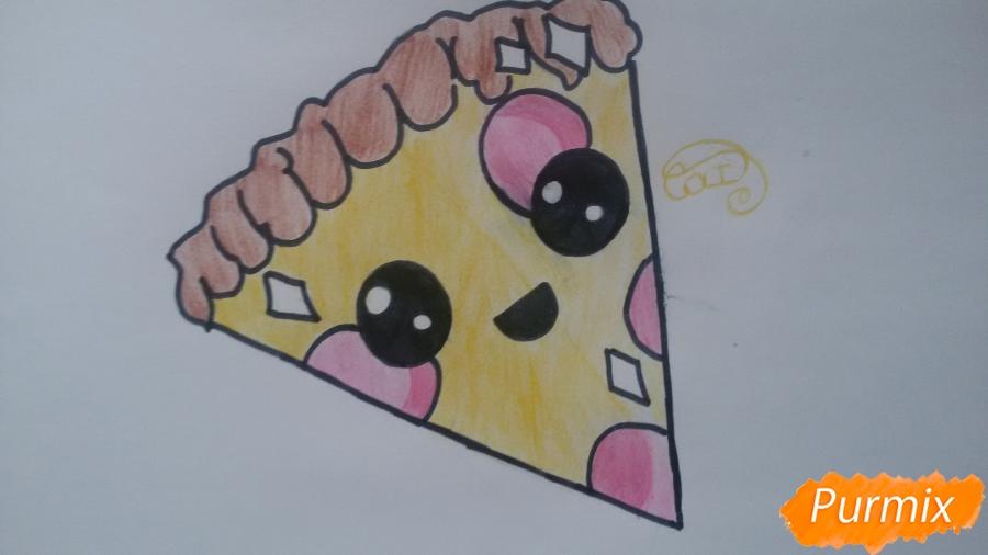 Рисуем кусок пиццы с глазками - шаг 9