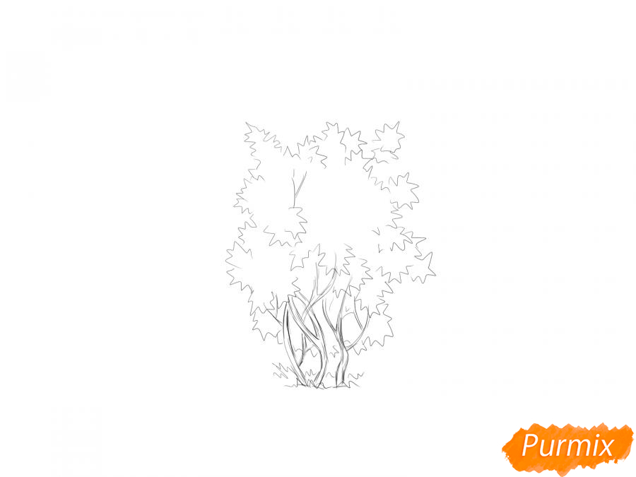 Рисуем куст калины - шаг 3