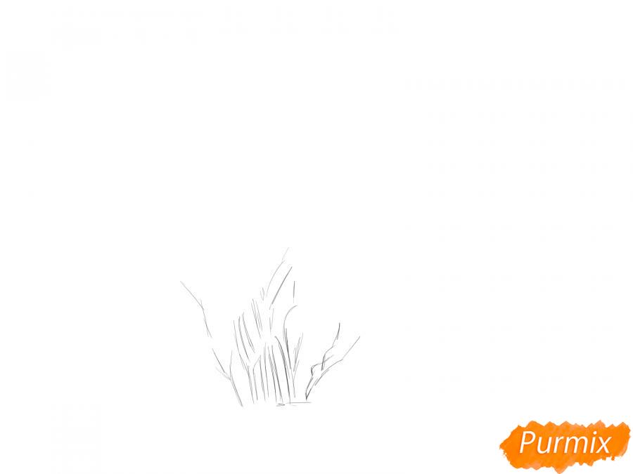Рисуем куст шиповника - шаг 1