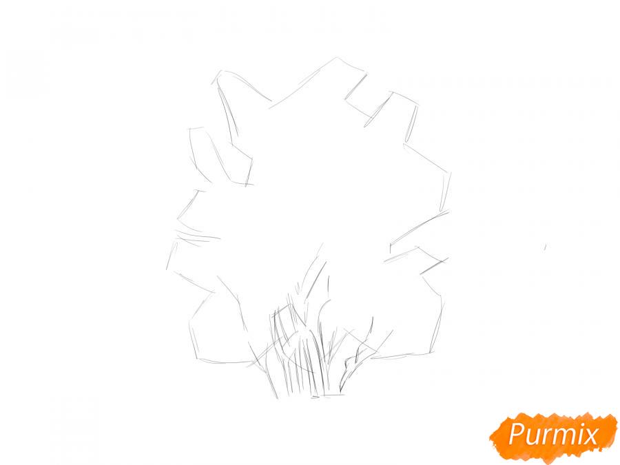 Рисуем куст шиповника - шаг 2
