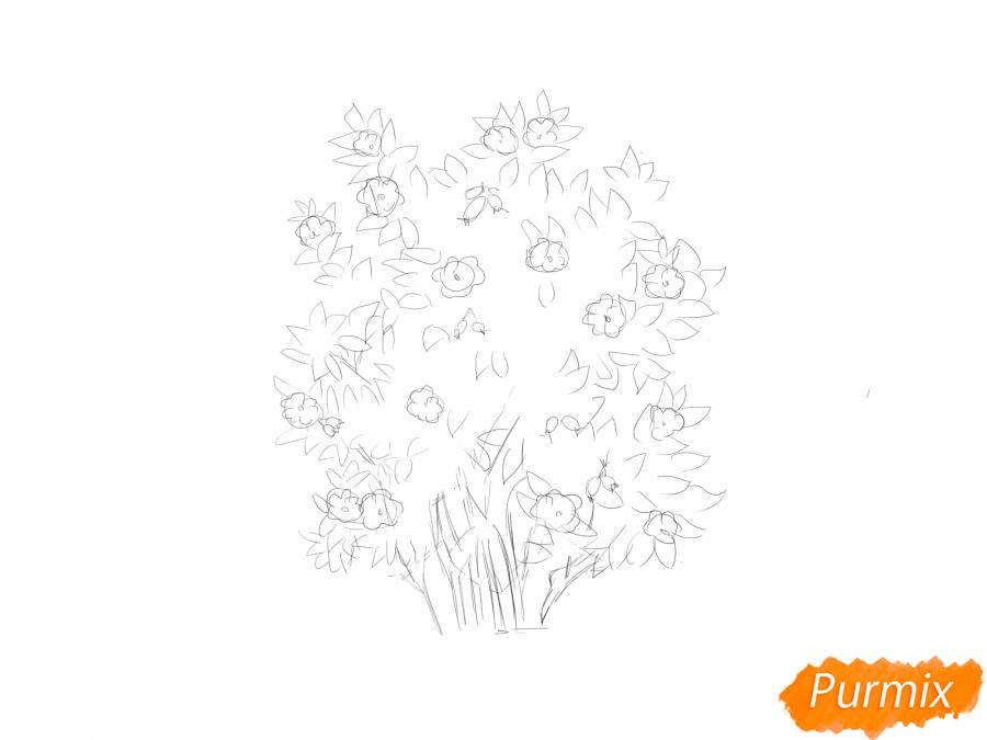 Рисуем куст шиповника - шаг 4