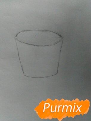 Рисуем маффин карандашами - шаг 1