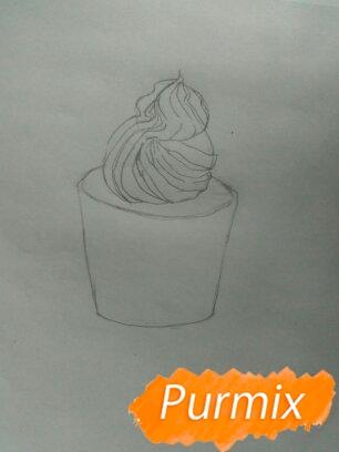 Рисуем маффин карандашами - шаг 2