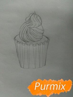 Рисуем маффин карандашами - шаг 3