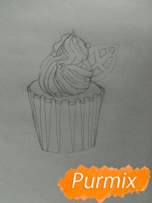 Рисуем маффин карандашами - шаг 4