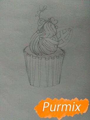 Рисуем маффин карандашами - шаг 5