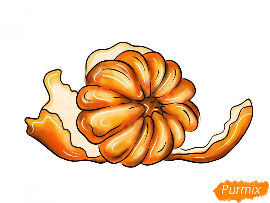 Рисуем мандарин без кожуры - шаг 9