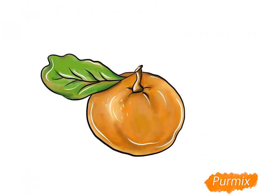 Рисуем мандарин  или гуашью - шаг 11