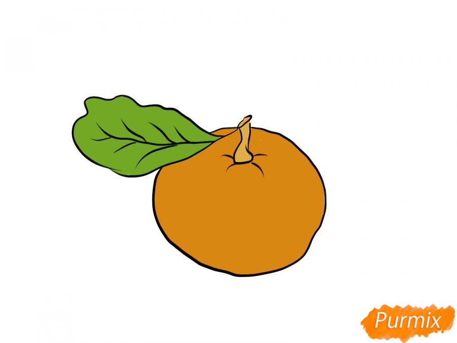 Рисуем мандарин  или гуашью - шаг 7