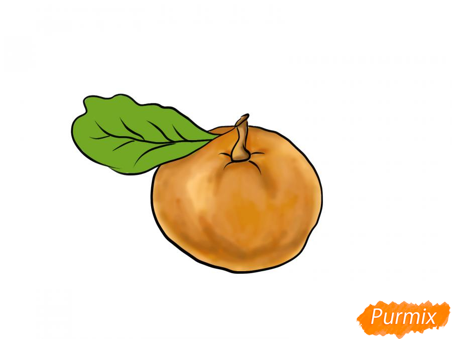 Рисуем мандарин  или гуашью - шаг 8