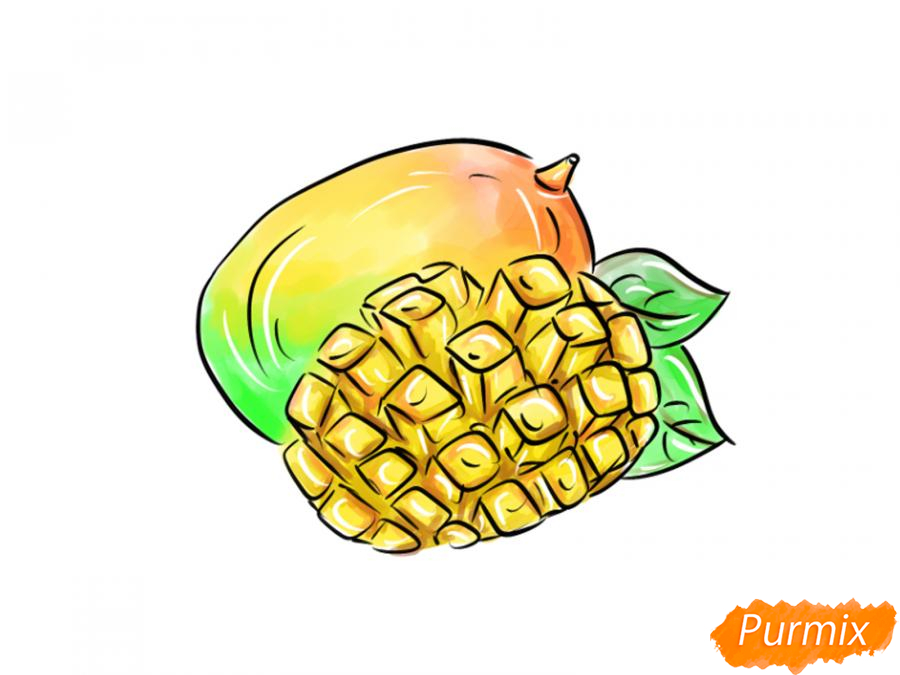 Рисуем манго в разрезе - шаг 10