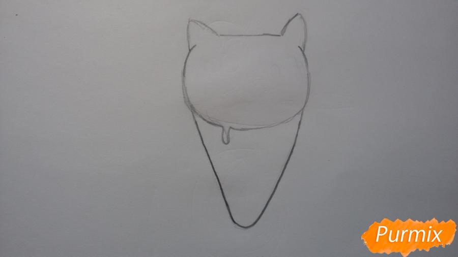 Рисуем милое мороженое-котик - шаг 2