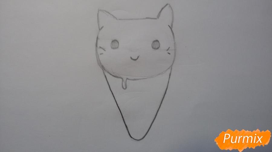 Рисуем милое мороженое-котик - шаг 3