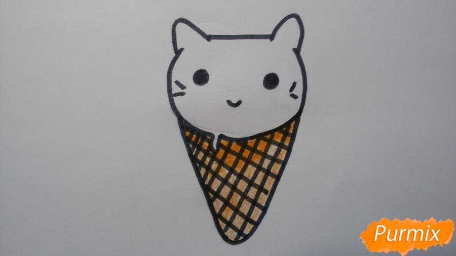 Рисуем милое мороженое-котик - шаг 5