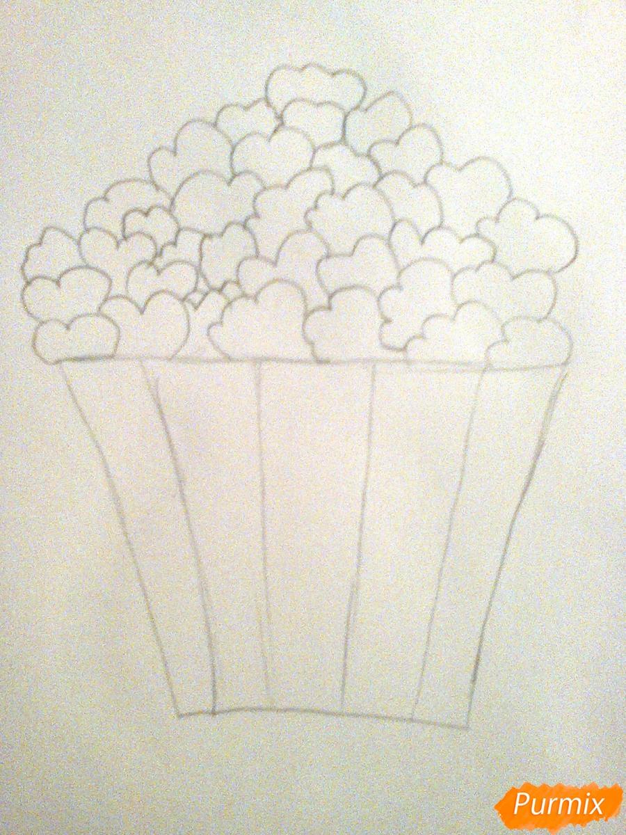 Рисуем милую коробочку попкорна - шаг 2