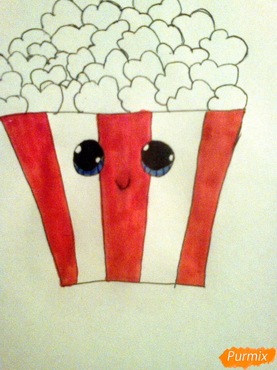 Рисуем милую коробочку попкорна - шаг 7