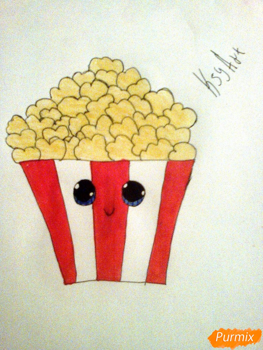 Рисуем милую коробочку попкорна - шаг 8