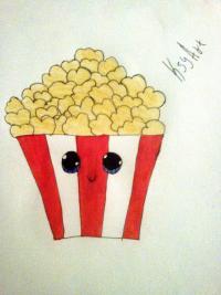 Фото милую коробочку попкорна карандашами