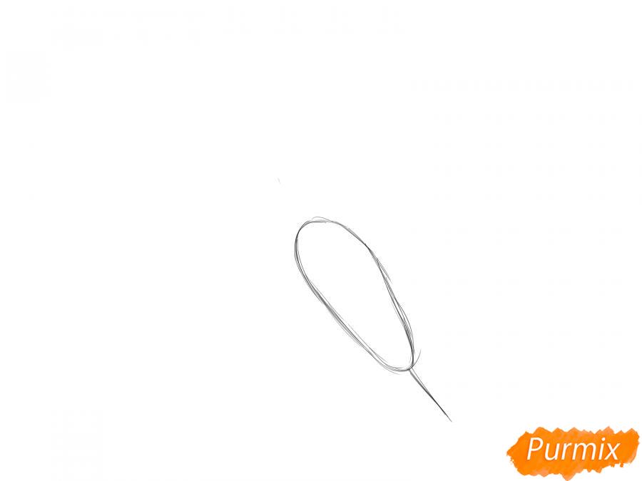Рисуем морковь  и красками - шаг 1