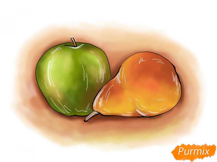 Как нарисовать натюрморт яблоко и грушу поэтапно