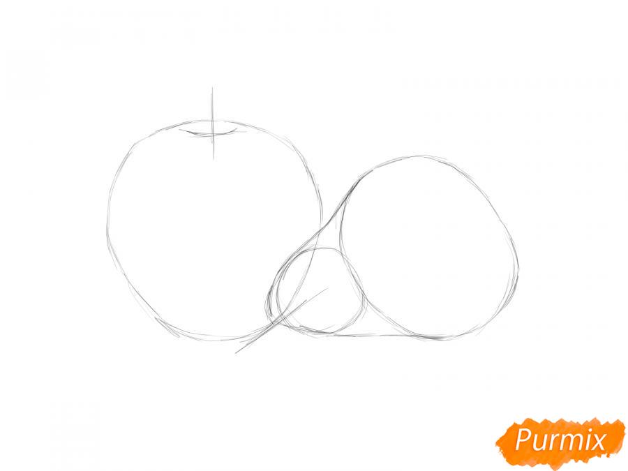 Рисуем натюрморт яблоко и грушу - шаг 2