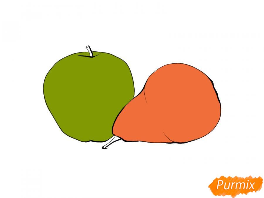 Рисуем натюрморт яблоко и грушу - шаг 5