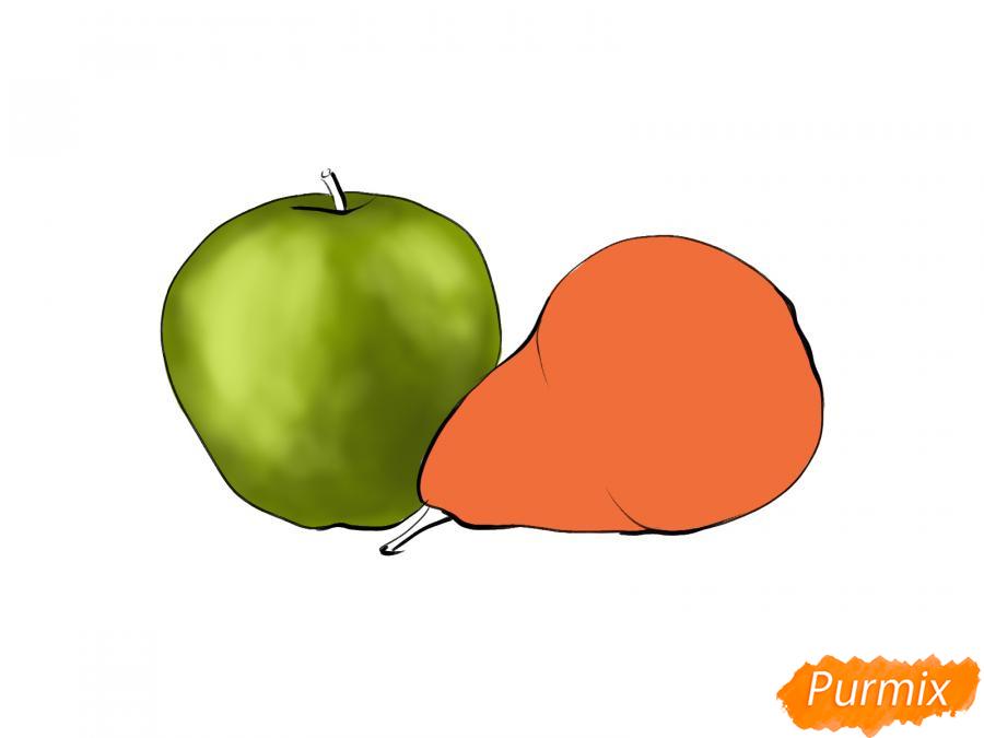 Рисуем натюрморт яблоко и грушу - шаг 6