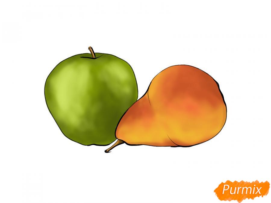 Рисуем натюрморт яблоко и грушу - шаг 8