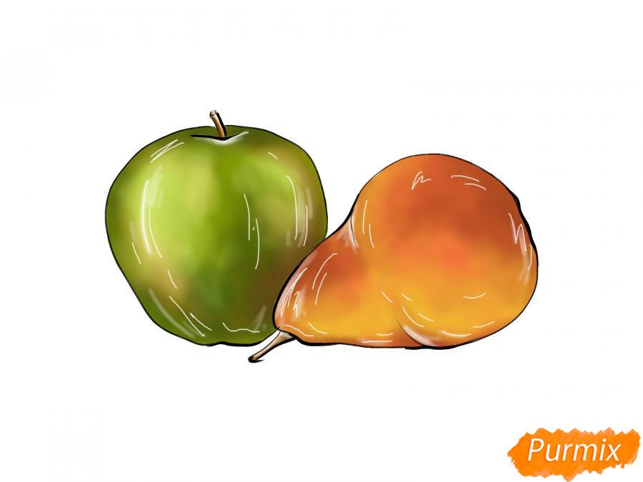 Рисуем натюрморт яблоко и грушу - шаг 9