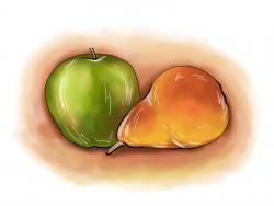 Фото натюрморт яблоко и грушу