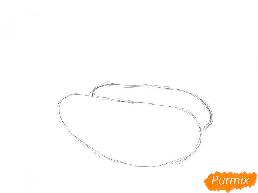 Рисуем несколько кабачков с листиками - шаг 1