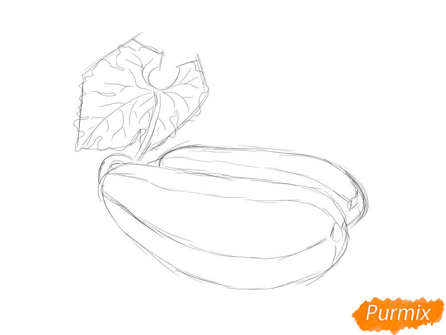 Рисуем несколько кабачков с листиками - шаг 4