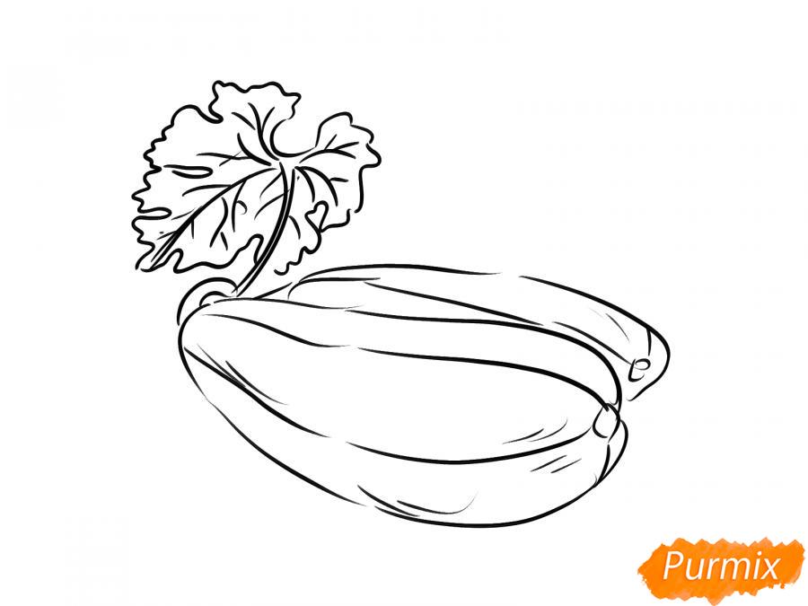 Рисуем несколько кабачков с листиками - шаг 5